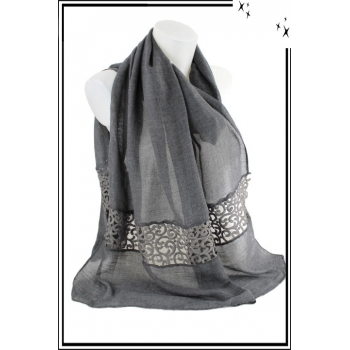 Foulard - Uni avec broderie - Gris anthracite