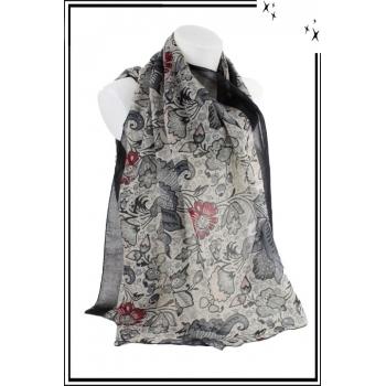 Foulard - Motif floral vintage - Bordure noire