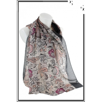 Foulard - Motif floral vintage - Bordure grise