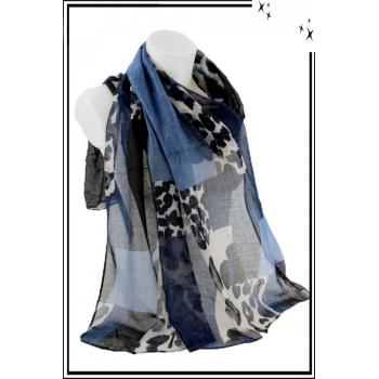 Foulard - Patchwork léopard - Bleu