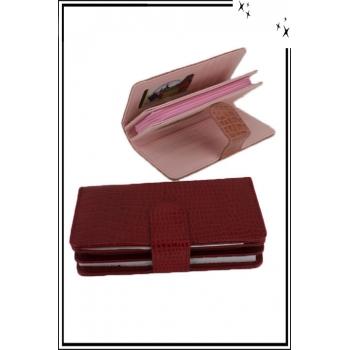Porte monnaie et cartes - Aspect croco - Rouge