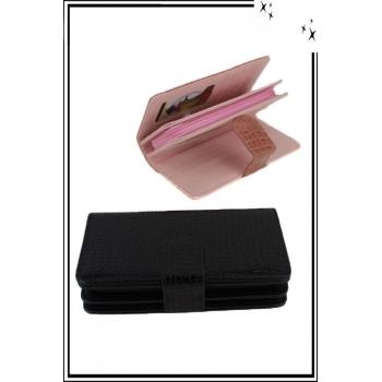 Porte monnaie et cartes - Aspect croco - Noir