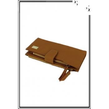 Porte monnaie et cartes - Deux compartiments zippés - Moutarde