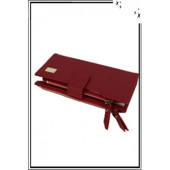 Porte monnaie et cartes - Deux compartiments zippés - Rouge