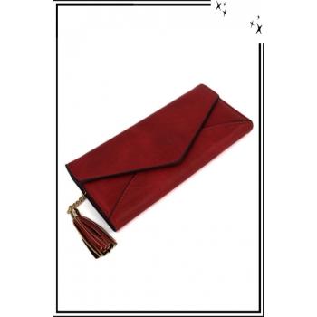 Porte monnaie et cartes - Forme enveloppe et pampille - Rouge