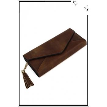 Porte monnaie et cartes - Forme enveloppe et pampille - Camel