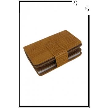 Porte monnaie - Petit modèle - Aspect croco - Moutarde