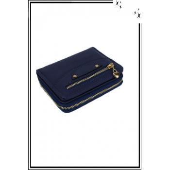 Porte monnaie - Petit modèle - Zips et coeurs - Bleu marine