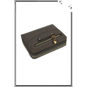 Porte monnaie - Petit modèle - Zips et coeurs - Gris