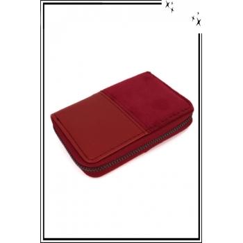 Porte monnaie - Petit modèle - Double texture - Rouge