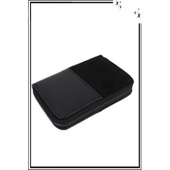 Porte monnaie - Petit modèle - Double texture - Noir
