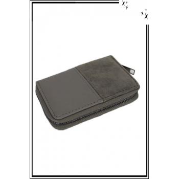Porte monnaie - Petit modèle - Double texture - Gris