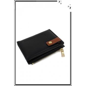 Porte monnaie, cartes et billets - Petit modèle - Pression sur le devant - Noir