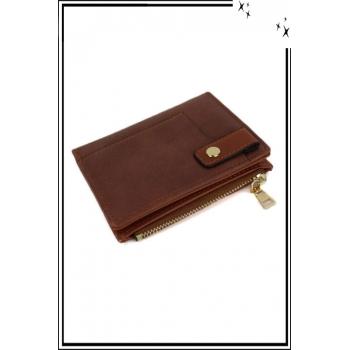 Porte monnaie, cartes et billets - Petit modèle - Pression sur le devant - Camel