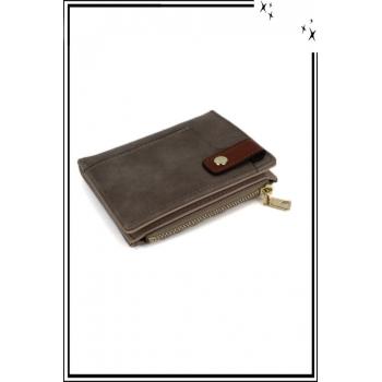 Porte monnaie, cartes et billets - Petit modèle - Pression sur le devant - Taupe