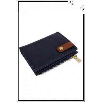 Porte monnaie, cartes et billets - Petit modèle - Pression sur le devant - Bleu marine