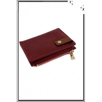 Porte monnaie, cartes et billets - Petit modèle - Pression sur le devant - Rouge