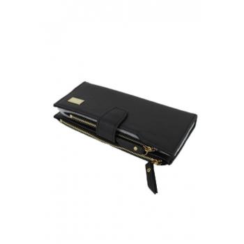 Porte monnaie et cartes - Deux compartiments zippés - Noir