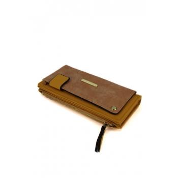 Porte monnaie et cartes - Poche brillante sur le devant - Moutarde