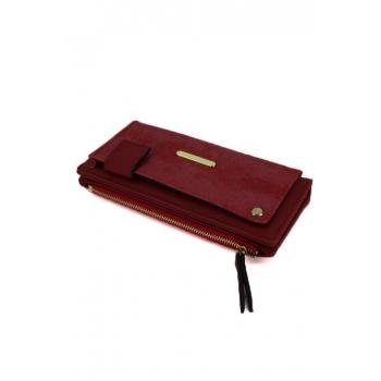 Porte monnaie et cartes - Poche brillante sur le devant - Rouge