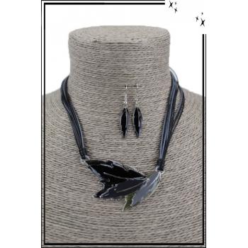 Parure - 3 plumes - Noir