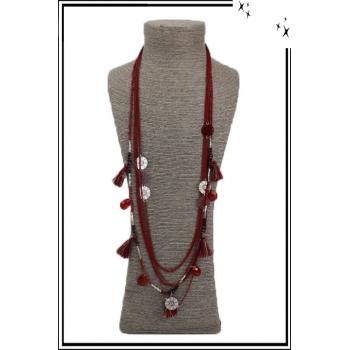 Sautoir - Pampilles - Perles - Rosace - Rouge