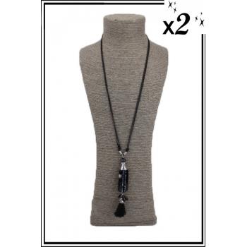 Sautoir - Pampilles - Perles - Noir x2