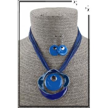 Parure collier et boucles d'oreilles - Cercle et torsade - Bleu