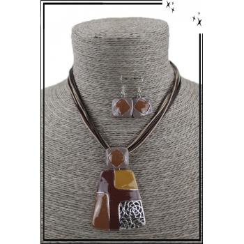 Parure collier et boucles d'oreilles - Formes géométriques - Chocolat