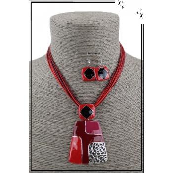 Parure collier et boucles d'oreilles - Formes géométriques - Rouge