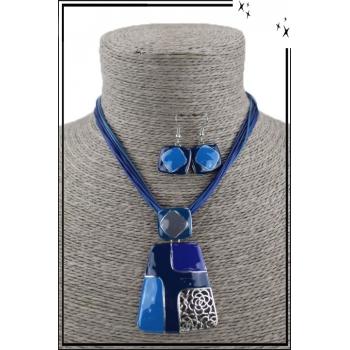 Parure collier et boucles d'oreilles - Formes géométriques - Bleu