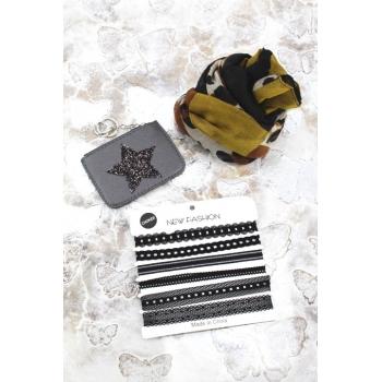 Cocco Box - Bijoux fantaisie et foulard - Noir / Moutarde / Marron