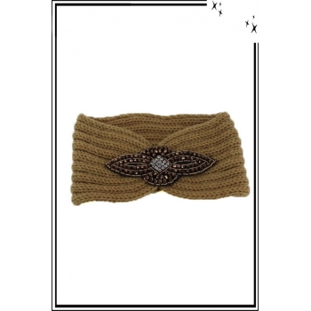 Bandeau hiver - Style bijou - Ornement strass - Sable