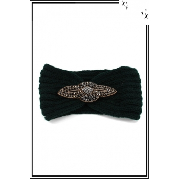 Bandeau hiver - Style bijou - Ornement strass - Vert