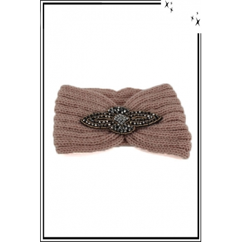Bandeau hiver - Style bijou - Ornement strass - Rose