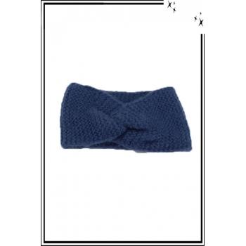 Bandeau hiver - Style croisé - Effet maille - Bleu