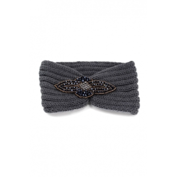 Bandeau hiver - Style bijou - Ornement strass - Gris
