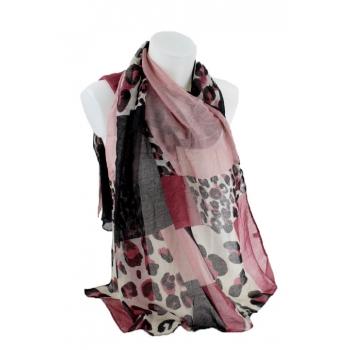 Foulard - Patchwork léopard - Rose