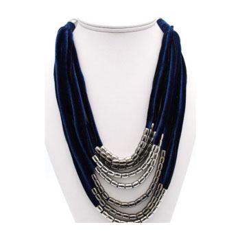 Collier - Multi-rangs - Velours - Perles - Bleu marine