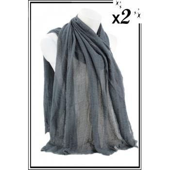 Foulard uni - Touche de coton - Gris - x2
