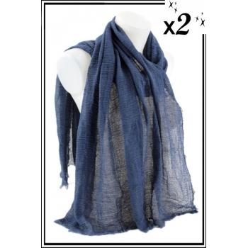 Foulard uni - Touche de coton - Bleu jean - x2