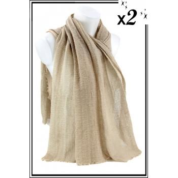 Foulard uni - Touche de coton - Beige - x2