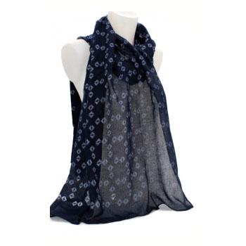 Foulard - Touche de coton - Losanges ouverts - Bleu marine
