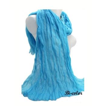 Chèche - Grand modèle - Coton - Bi-color - Bleu / Bleu