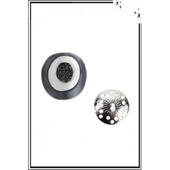 Broche aimantée - Cercles et strass - Noir, blanc et gris