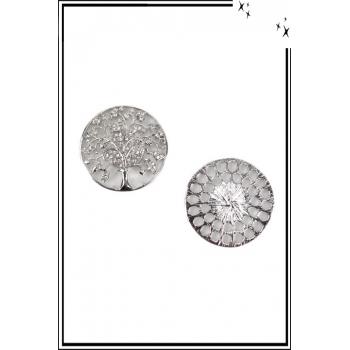 Broche aimantée - Arbre de vie - Feuilles strass - Argenté