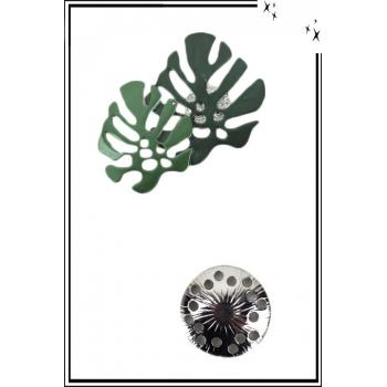 Broche aimantée - Feuilles de monstera - Vert