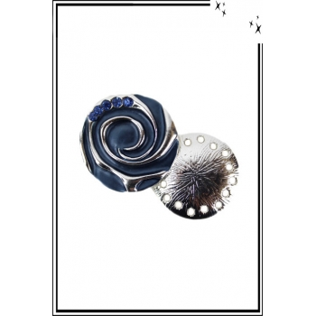 Broche aimantée - Spirale et strass - Bleu