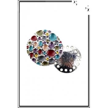 Broche aimantée - Bulles - Multicolor et argenté