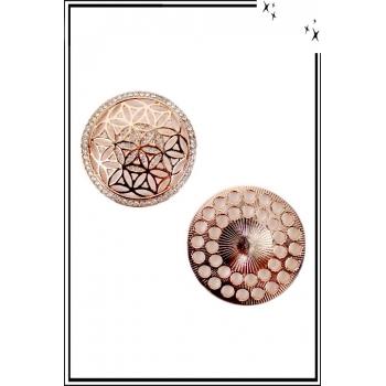 Broche aimantée - Fleur étoilée et strass - Cuivré